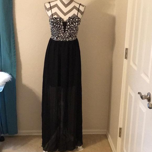 B Darlin Dresses & Skirts - Black spaghetti long gown w/sliver stones sz  7/8